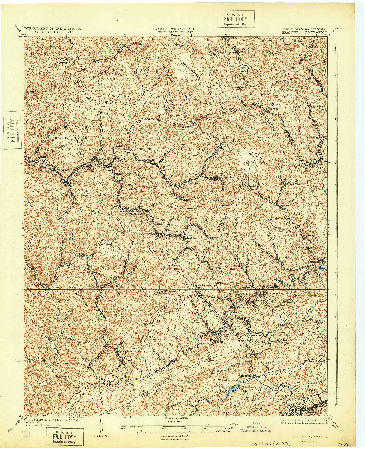 USGS 1:62500-SCALE QUADRANGLE FOR BRAMWELL, WV 1925