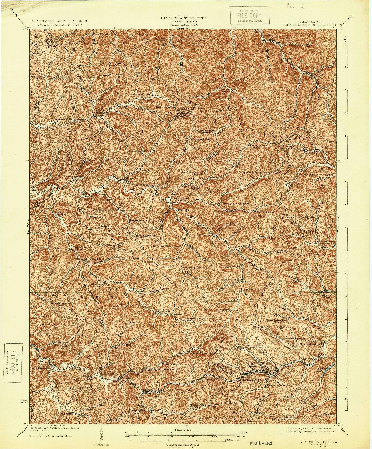 USGS 1:62500-SCALE QUADRANGLE FOR CENTERPOINT, WV 1925
