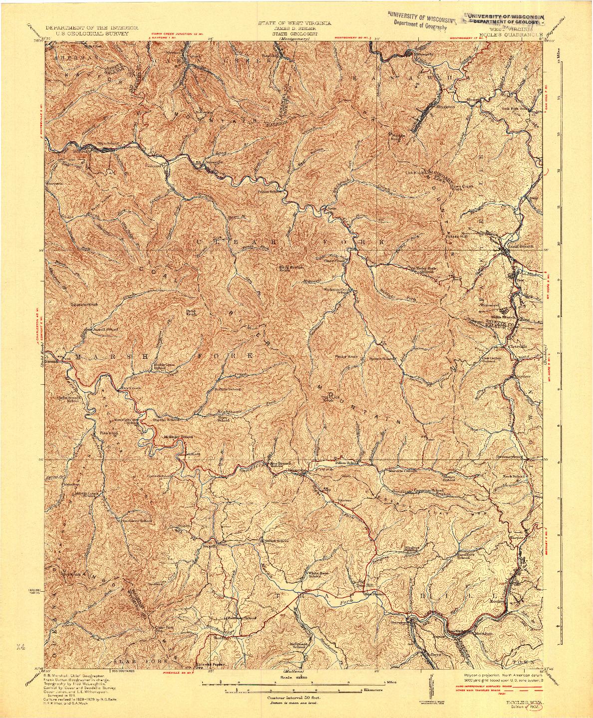 USGS 1:62500-SCALE QUADRANGLE FOR ECCLES, WV 1932