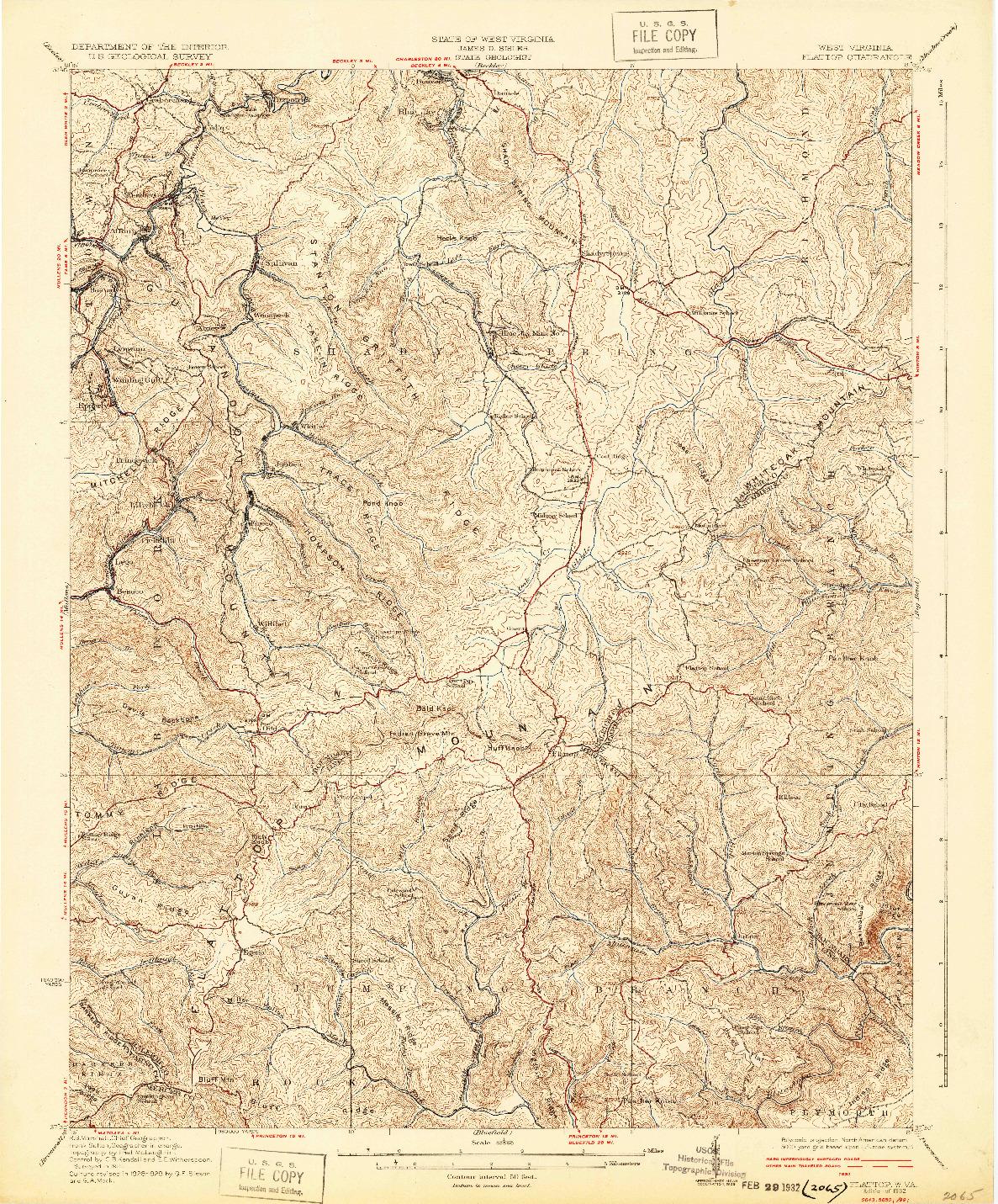 USGS 1:62500-SCALE QUADRANGLE FOR FLATTOP, WV 1932