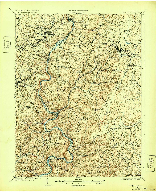 USGS 1:62500-SCALE QUADRANGLE FOR KINGWOOD, WV 1925