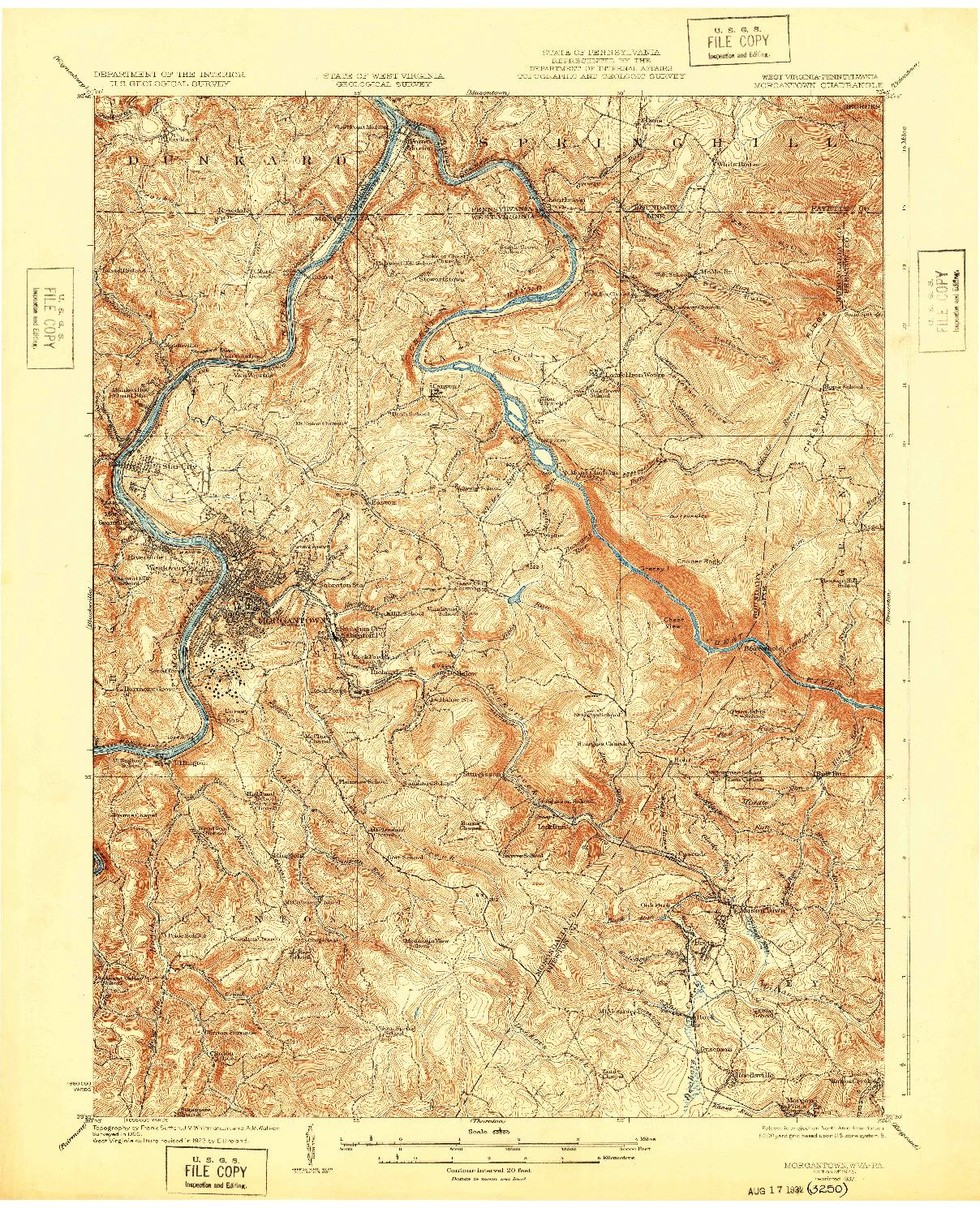USGS 1:62500-SCALE QUADRANGLE FOR MORGANTOWN, WV 1925