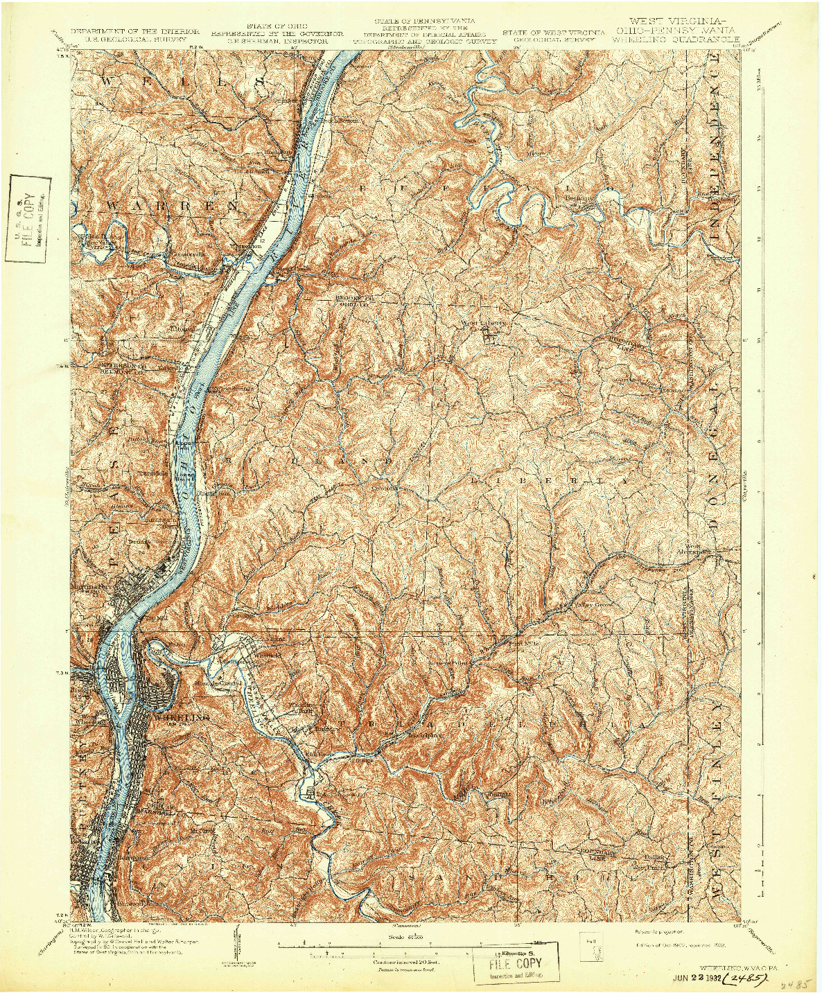 USGS 1:62500-SCALE QUADRANGLE FOR WHEELING, WV 1902
