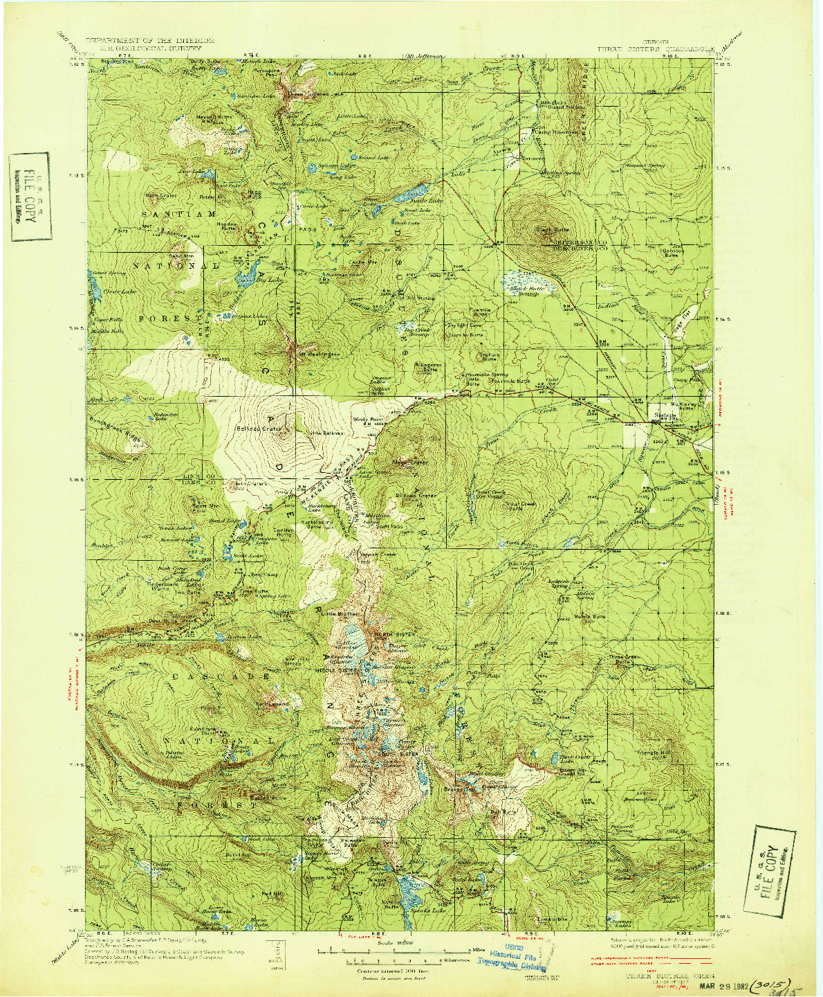 USGS 1:125000-SCALE QUADRANGLE FOR THREE SISTERS, OR 1932