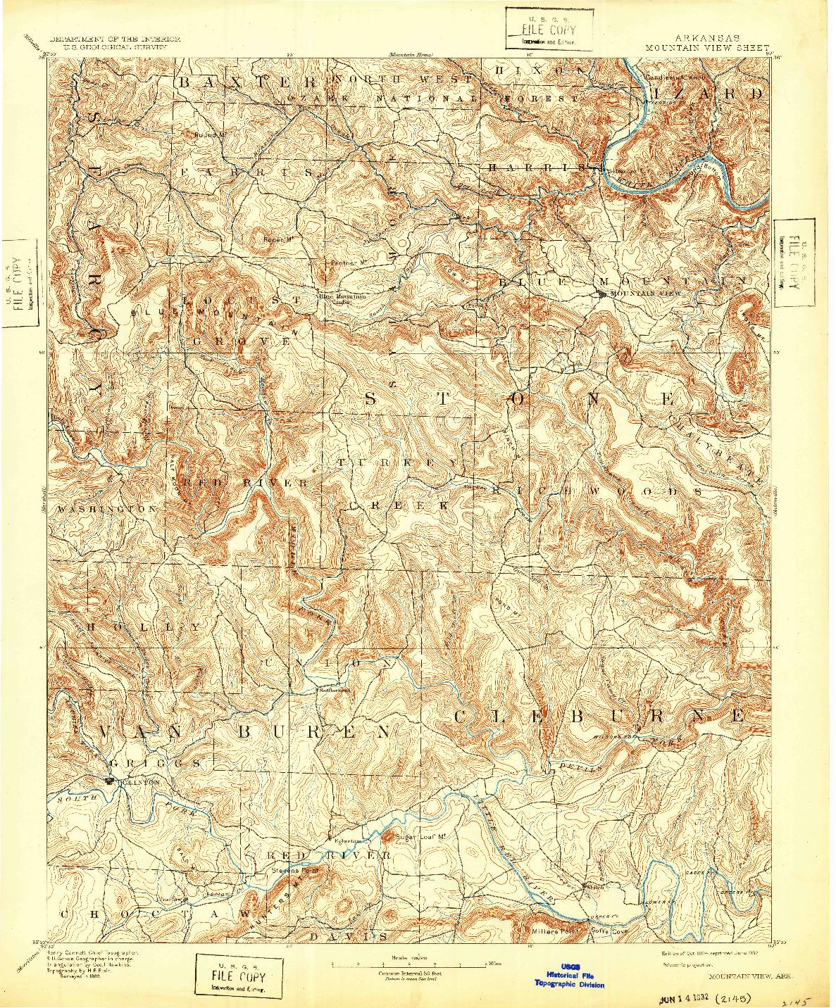 USGS 1:125000-SCALE QUADRANGLE FOR MOUNTAIN VIEW, AR 1894