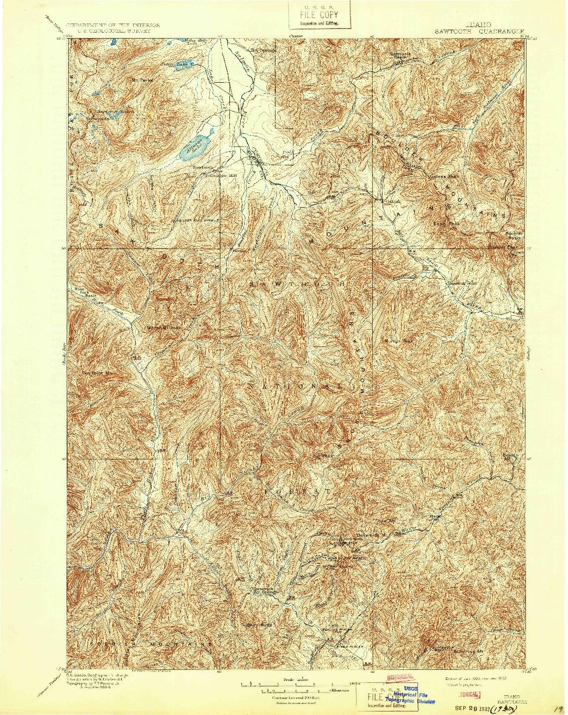 USGS 1:125000-SCALE QUADRANGLE FOR SAWTOOTH, ID 1900