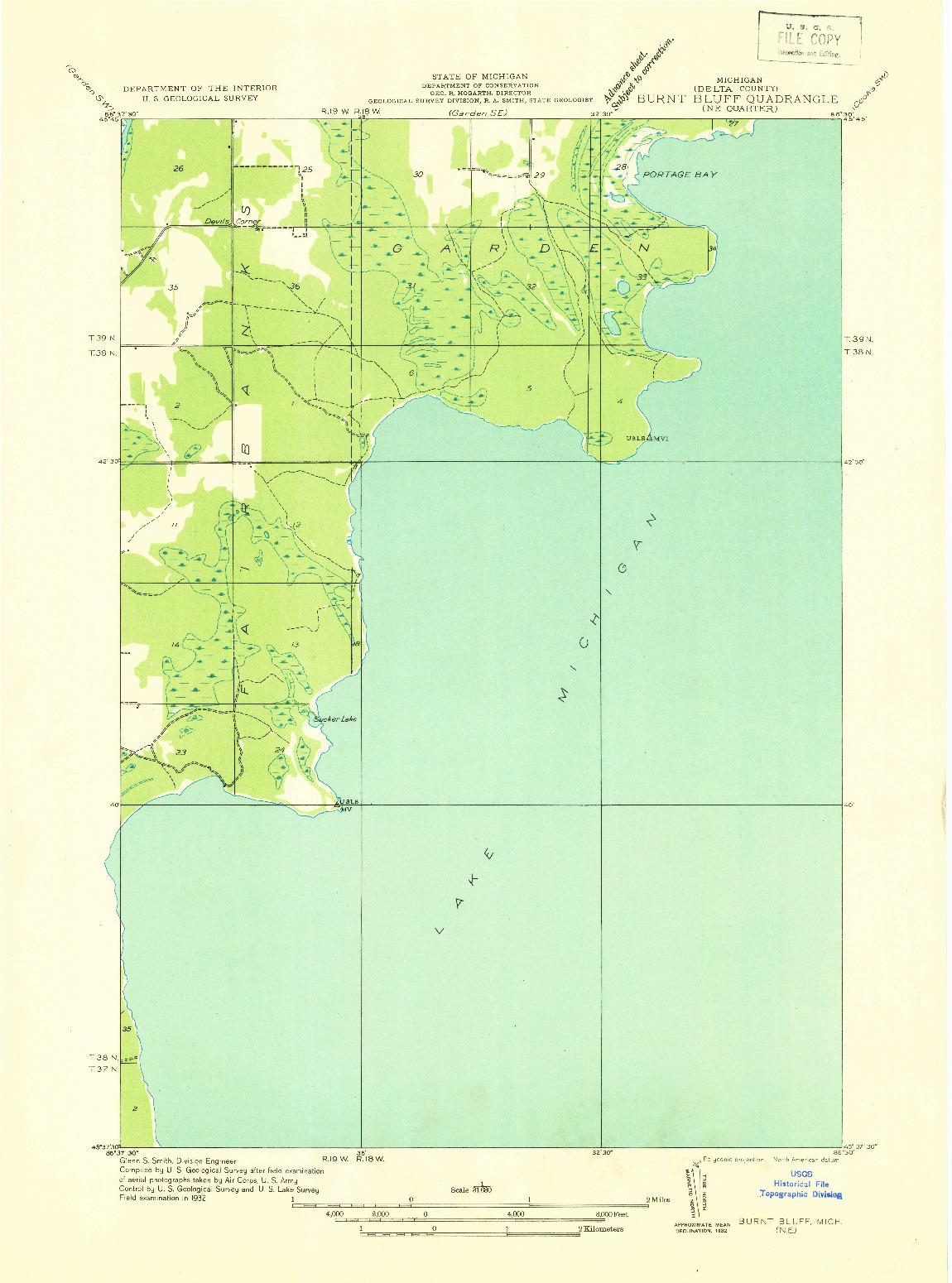 USGS 1:31680-SCALE QUADRANGLE FOR BURNT BLUFF NE, MI 1932