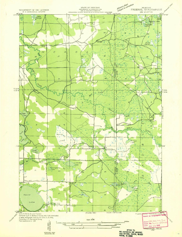 USGS 1:31680-SCALE QUADRANGLE FOR FREESOIL SE, MI 1932