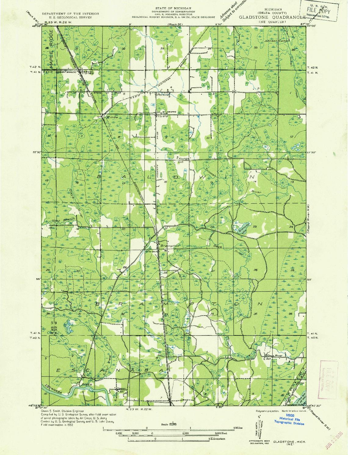 USGS 1:31680-SCALE QUADRANGLE FOR GLADSTONE NE, MI 1932