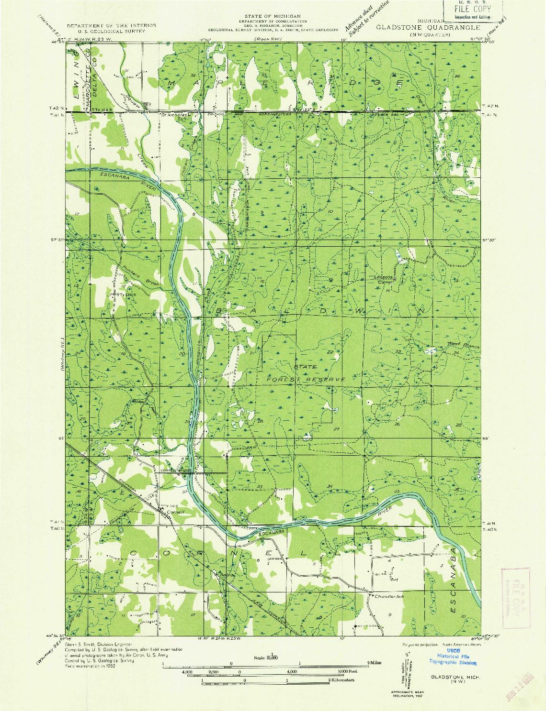 USGS 1:31680-SCALE QUADRANGLE FOR GLADSTONE NW, MI 1932