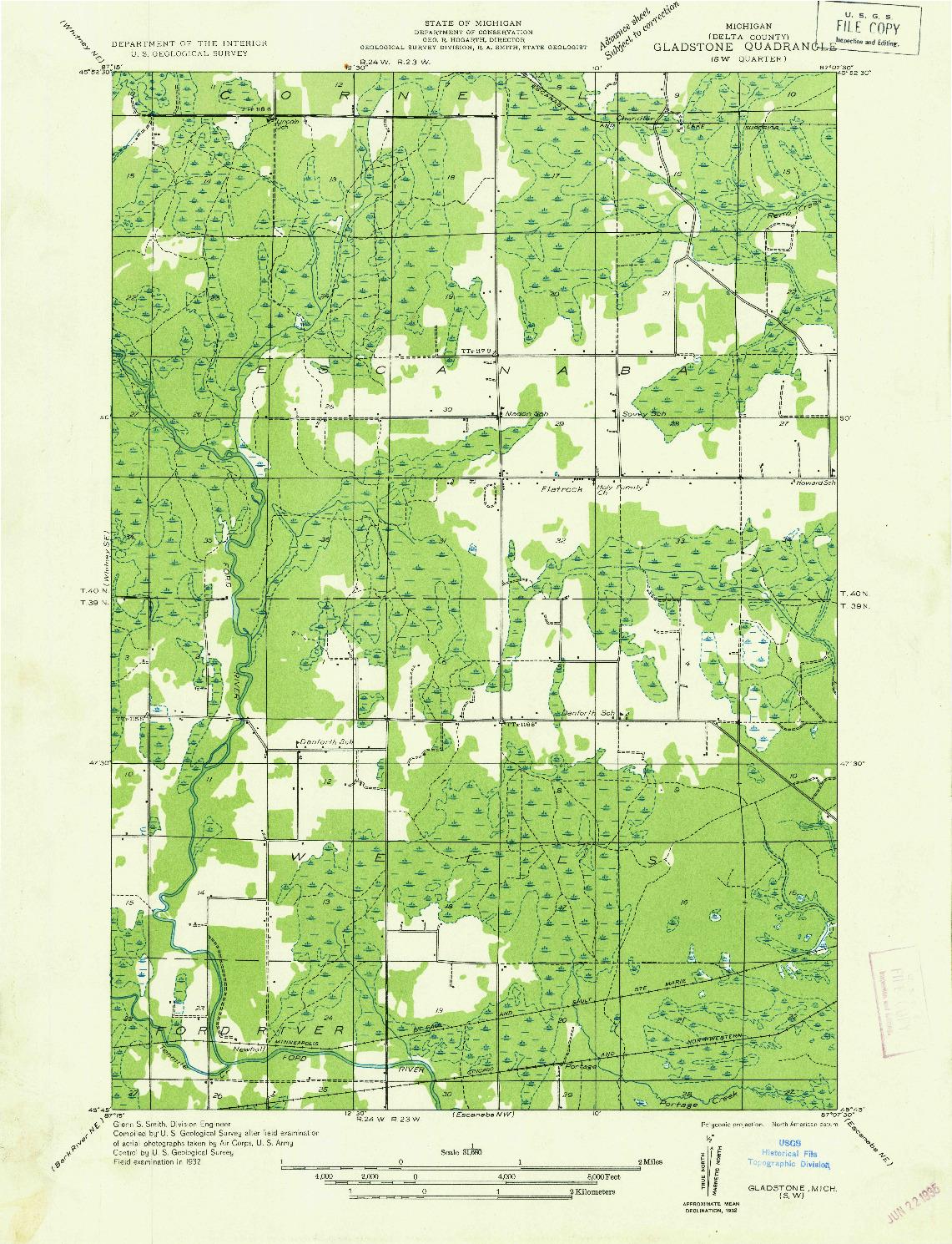USGS 1:31680-SCALE QUADRANGLE FOR GLADSTONE SW, MI 1932
