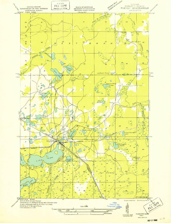 USGS 1:31680-SCALE QUADRANGLE FOR HARVEY SE, MI 1932