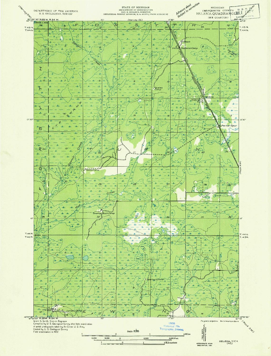 USGS 1:31680-SCALE QUADRANGLE FOR HELENA NE, MI 1932