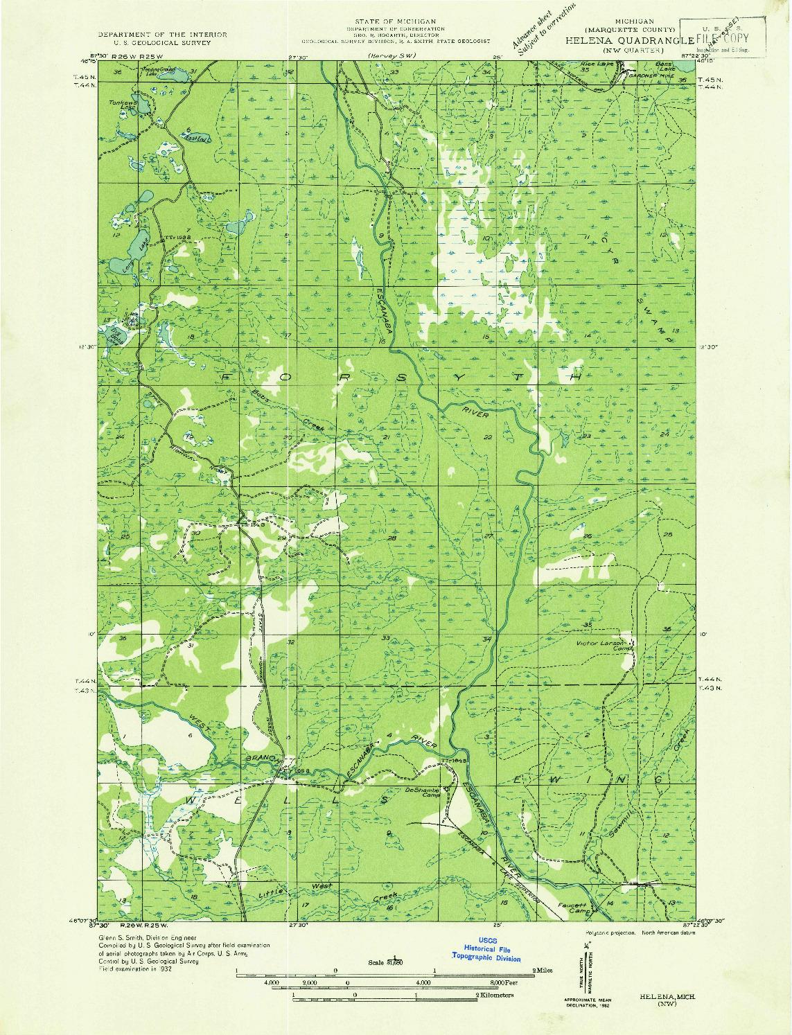 USGS 1:31680-SCALE QUADRANGLE FOR HELENA NW, MI 1932