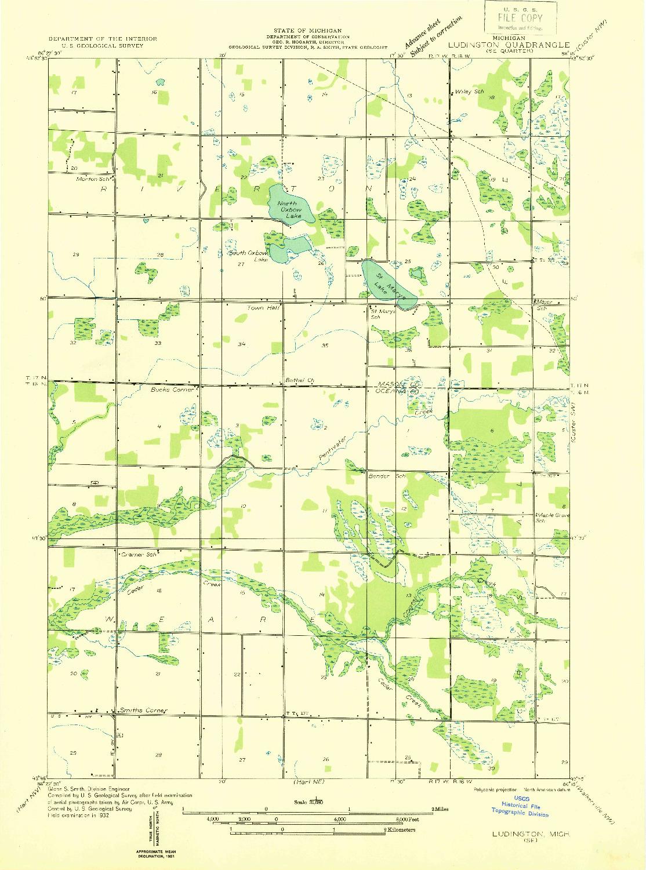 USGS 1:31680-SCALE QUADRANGLE FOR LUDINGTON SE, MI 1932