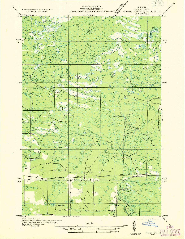 USGS 1:31680-SCALE QUADRANGLE FOR RAPID RIVER NE, MI 1932