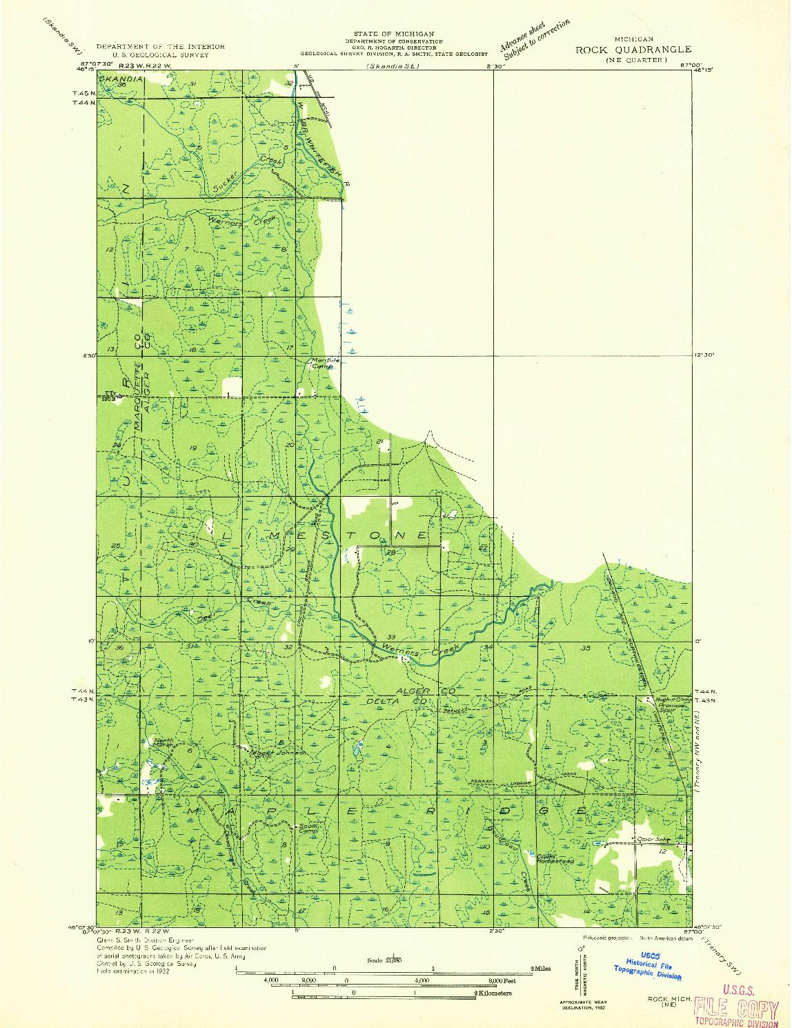 USGS 1:31680-SCALE QUADRANGLE FOR ROCK NE, MI 1932