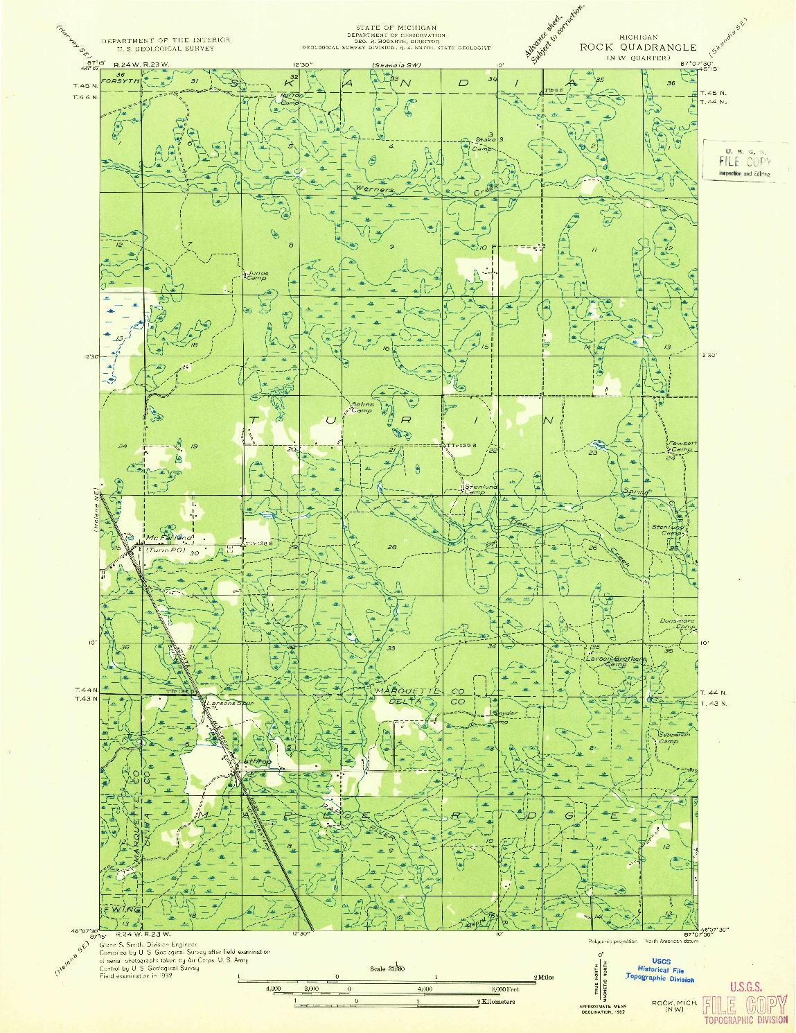 USGS 1:31680-SCALE QUADRANGLE FOR ROCK NW, MI 1932