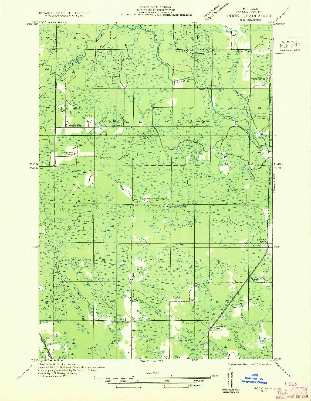 USGS 1:31680-SCALE QUADRANGLE FOR ROCK SE, MI 1932