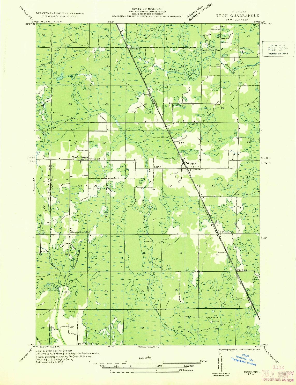 USGS 1:31680-SCALE QUADRANGLE FOR ROCK SW, MI 1932