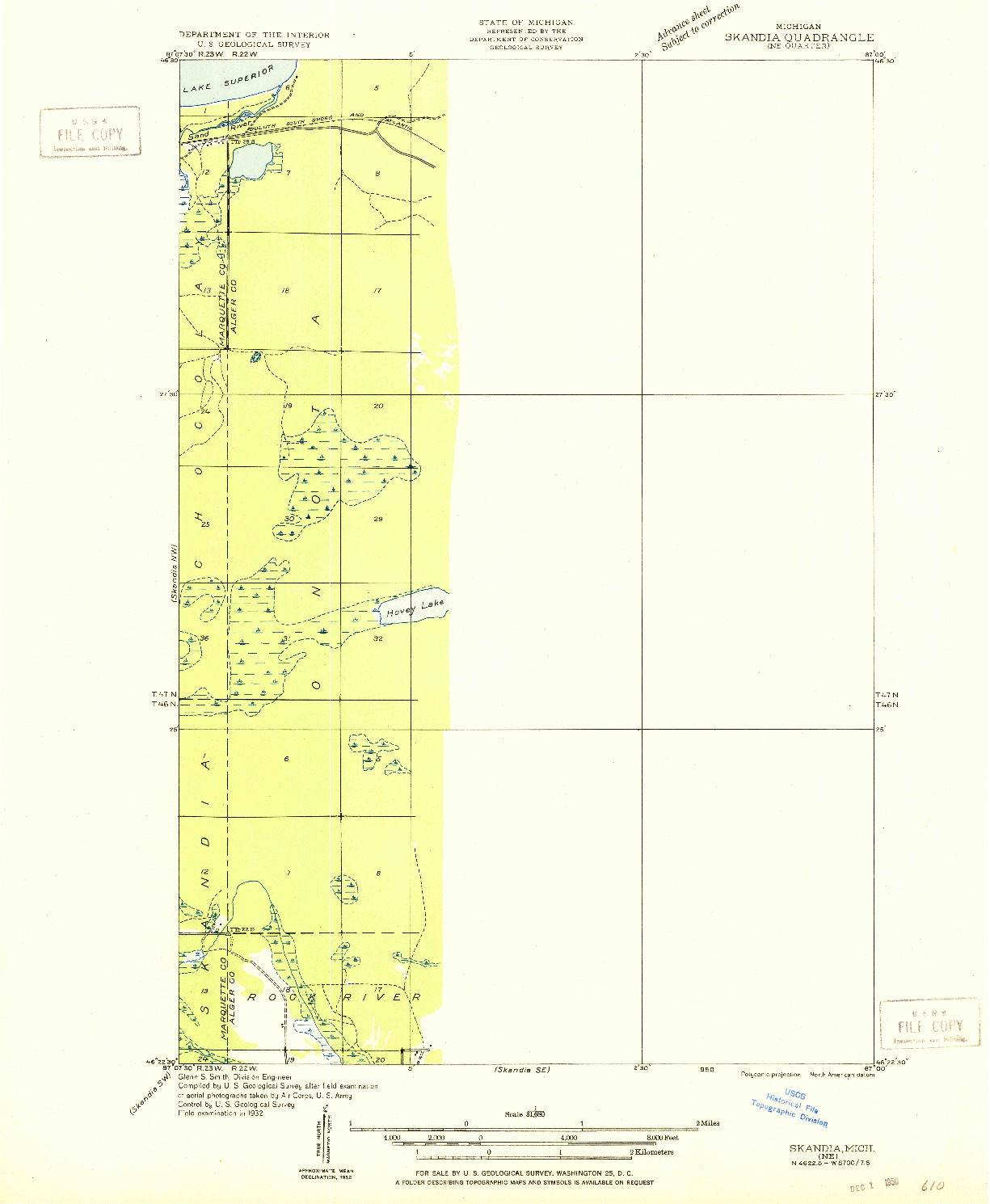 USGS 1:31680-SCALE QUADRANGLE FOR SKANDIA NE, MI 1932