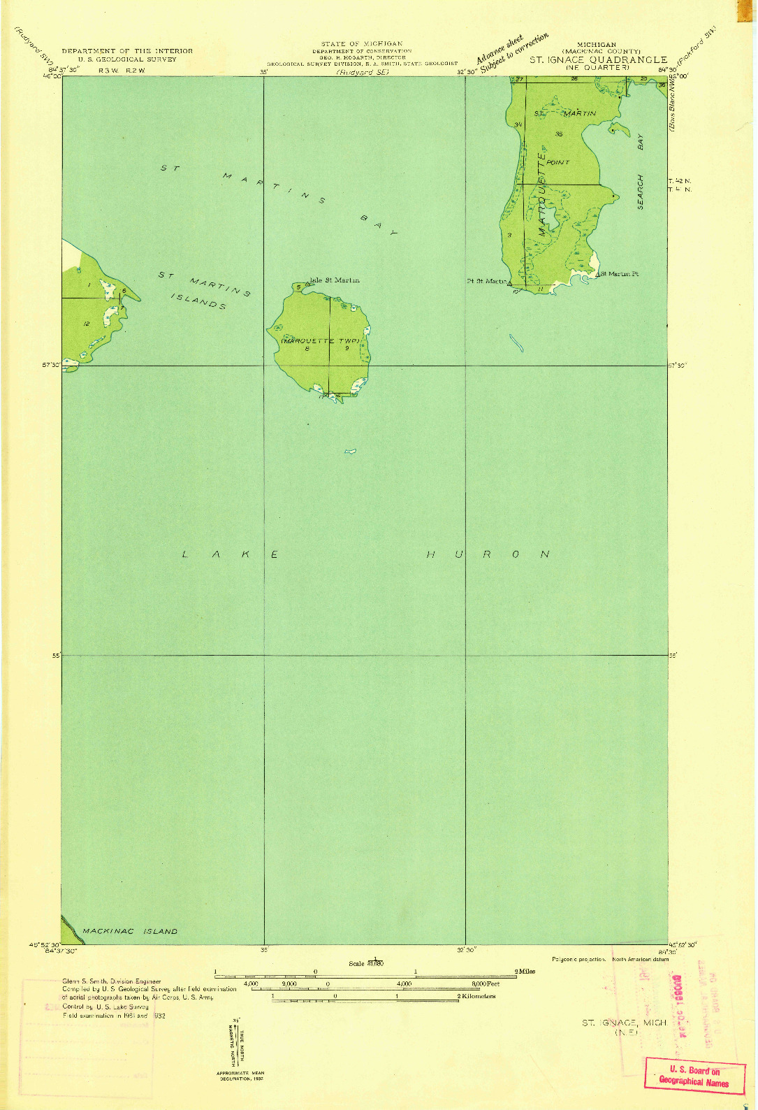 USGS 1:31680-SCALE QUADRANGLE FOR ST IGNACE NE, MI 1932