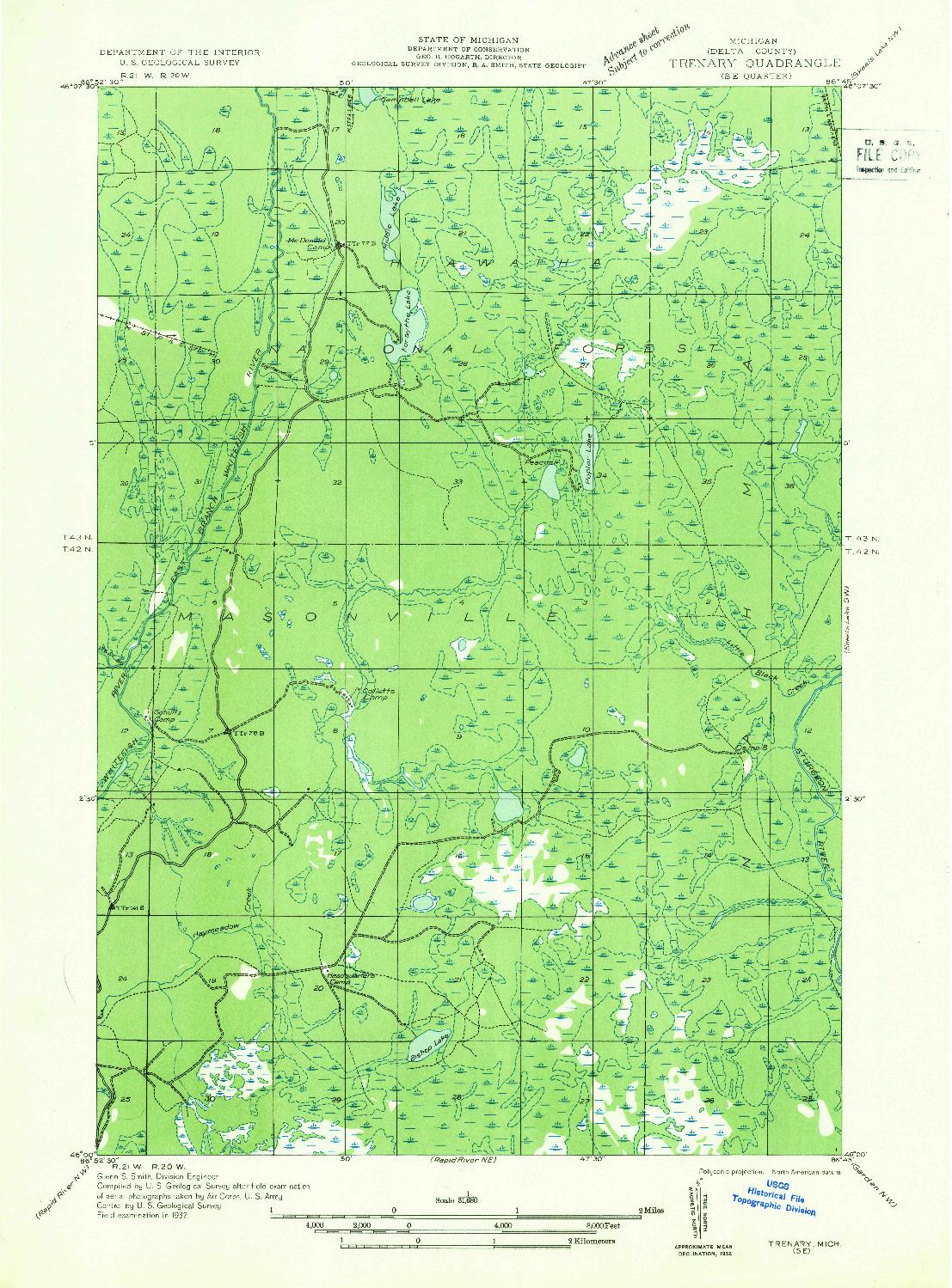 USGS 1:31680-SCALE QUADRANGLE FOR TRENARY SE, MI 1932