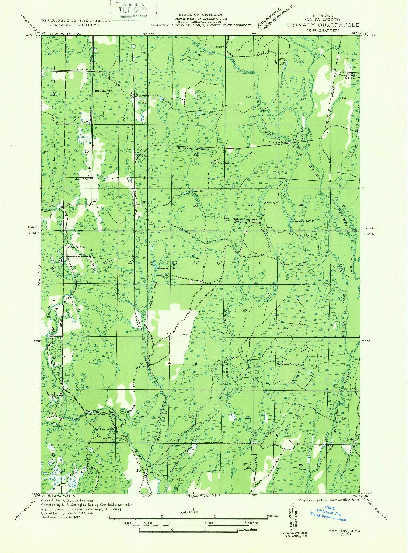 USGS 1:31680-SCALE QUADRANGLE FOR TRENARY SW, MI 1932