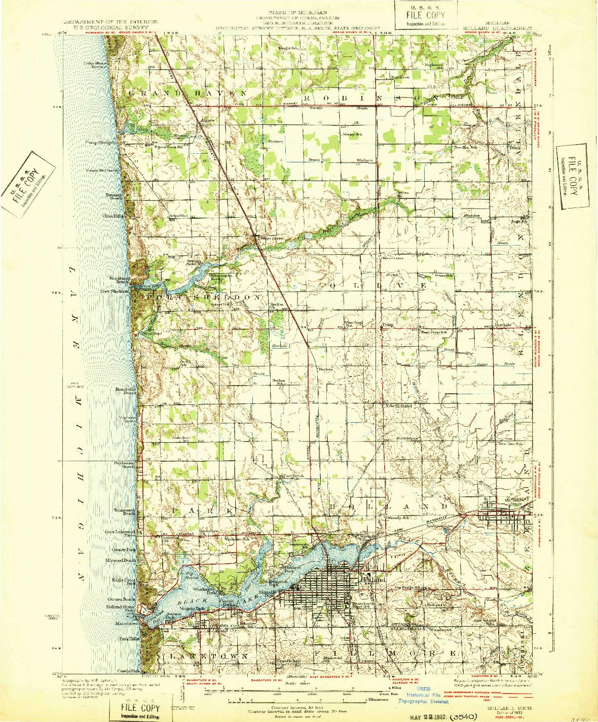 USGS 1:62500-SCALE QUADRANGLE FOR HOLLAND, MI 1932