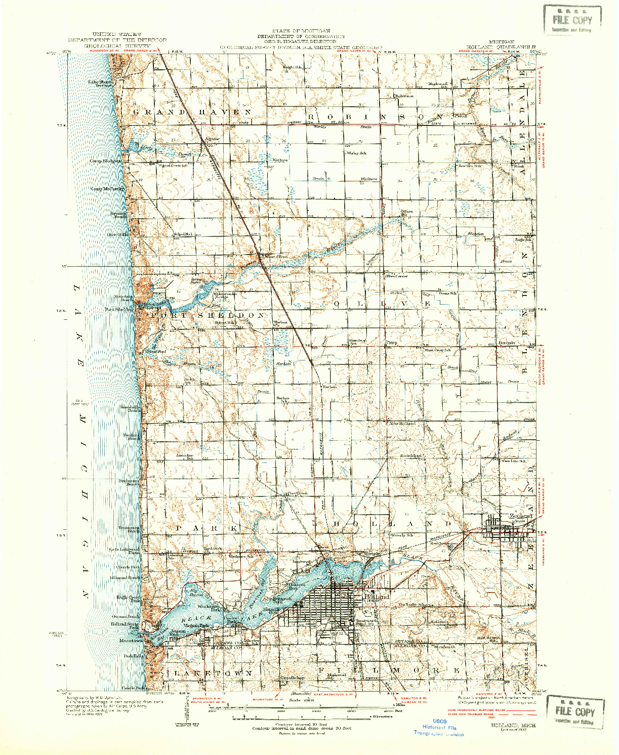 USGS 1:62500-SCALE QUADRANGLE FOR HOLLAND, MI 1932