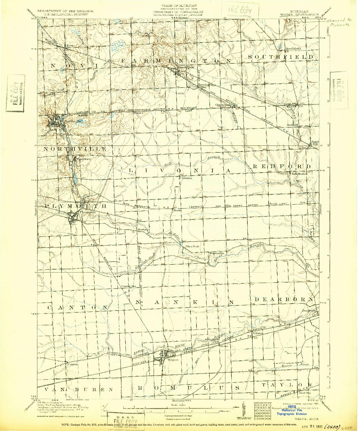 USGS 1:62500-SCALE QUADRANGLE FOR WAYNE, MI 1905