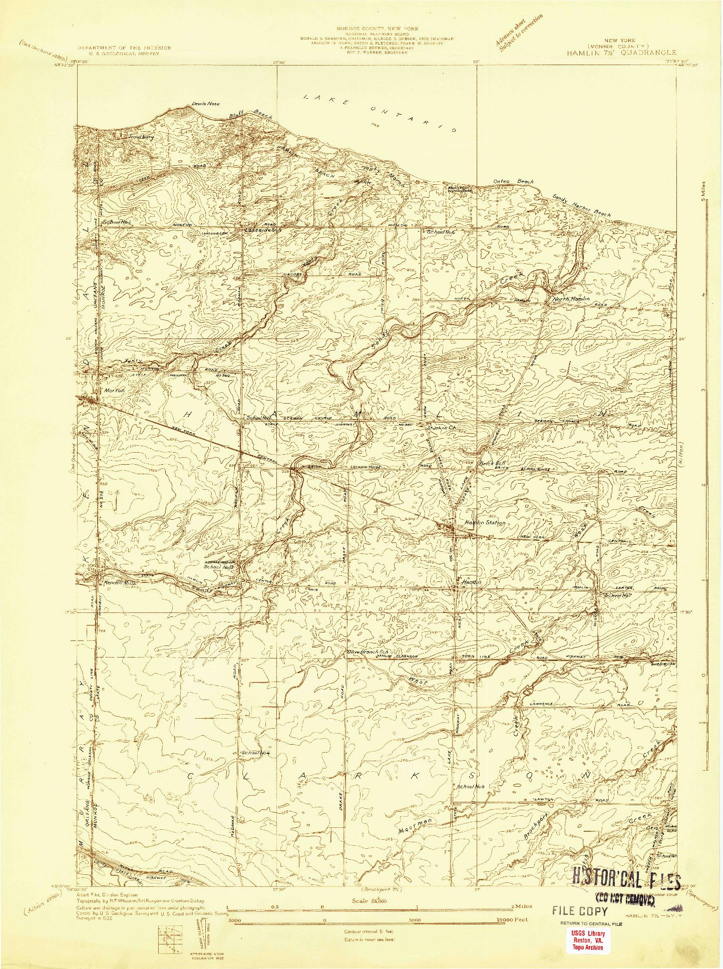 USGS 1:24000-SCALE QUADRANGLE FOR HAMLIN, NY 1932