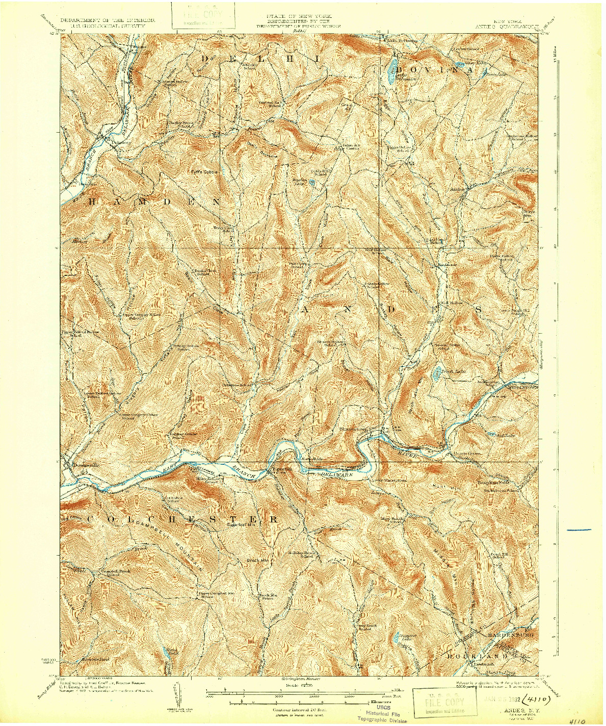 USGS 1:62500-SCALE QUADRANGLE FOR ANDES, NY 1924