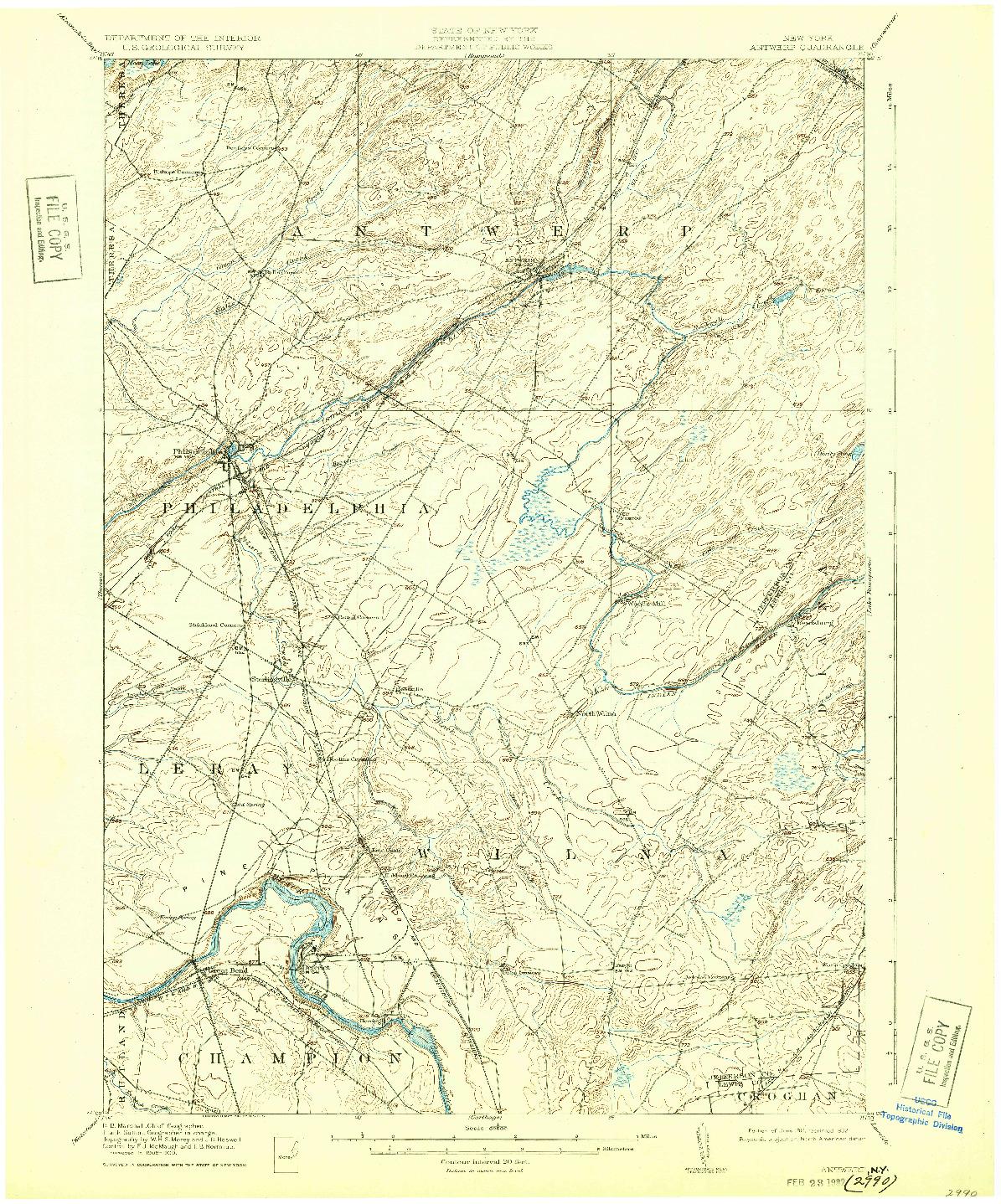 USGS 1:62500-SCALE QUADRANGLE FOR ANTWERP, NY 1911