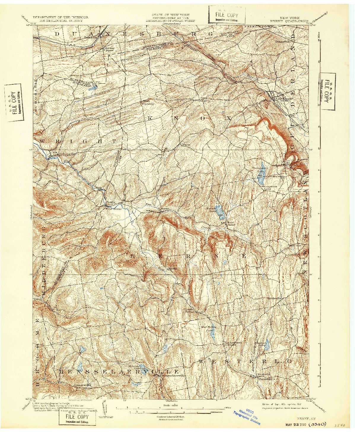 USGS 1:62500-SCALE QUADRANGLE FOR BERNE, NY 1903