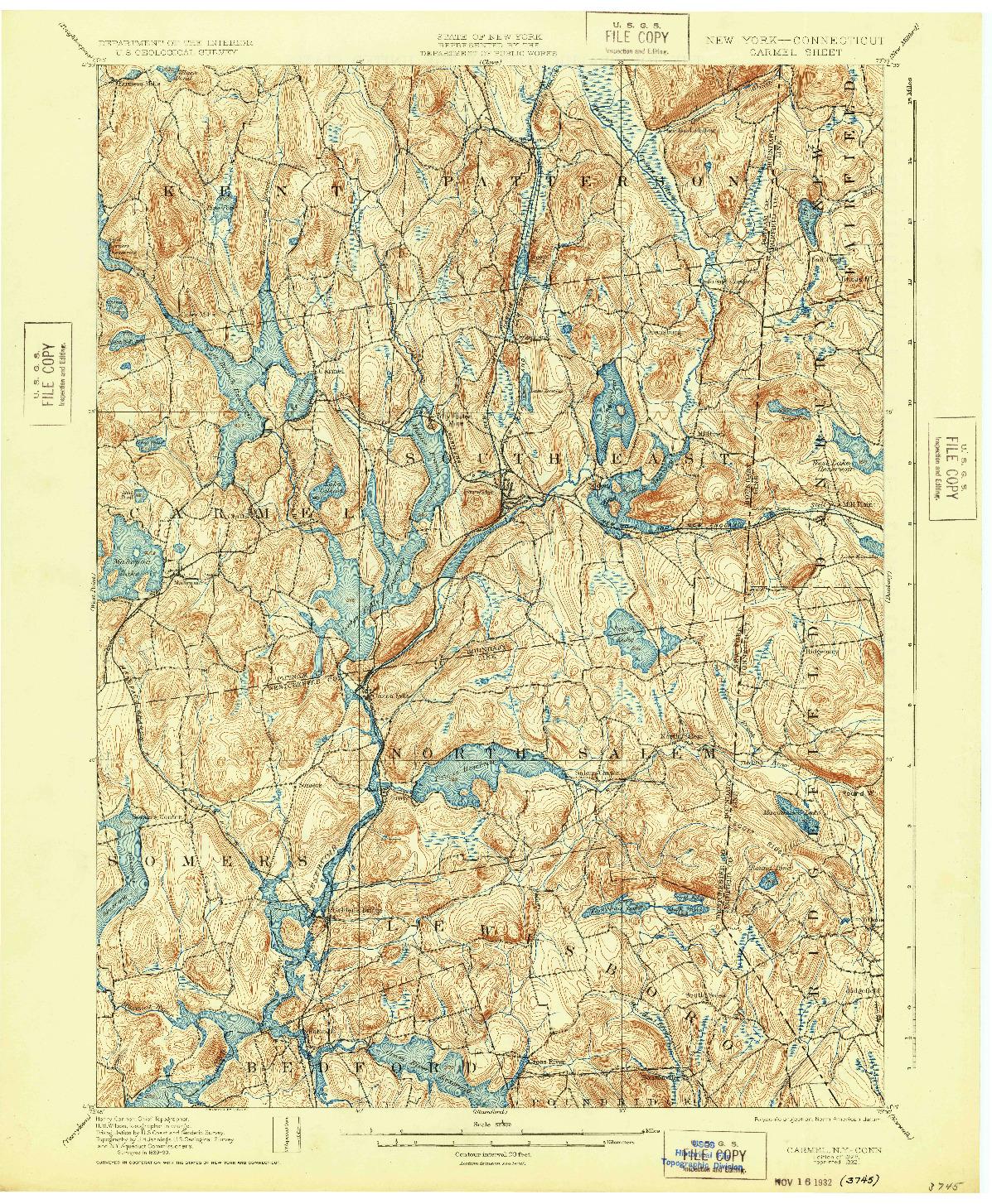 USGS 1:62500-SCALE QUADRANGLE FOR CARMEL, NY 1928