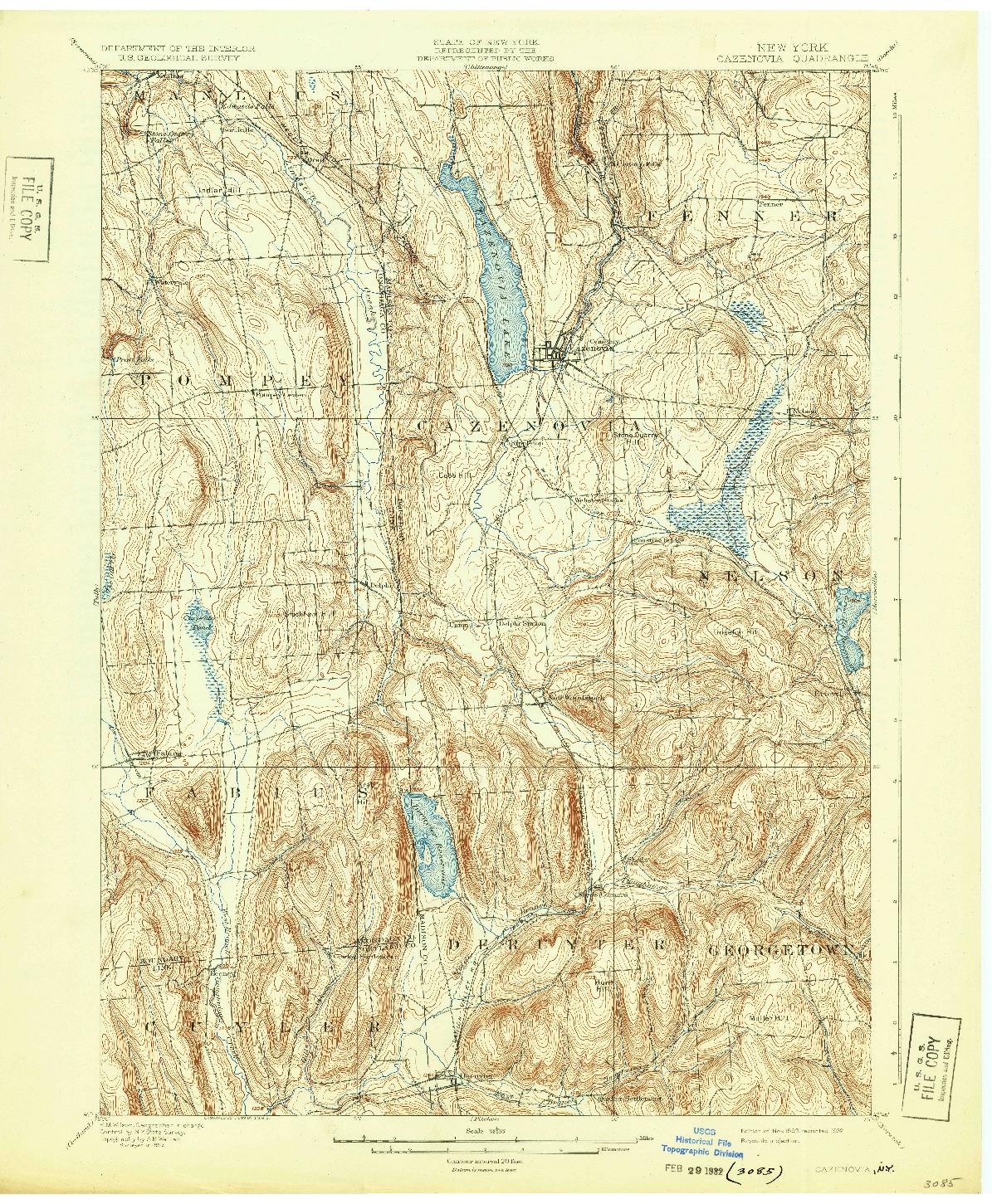 USGS 1:62500-SCALE QUADRANGLE FOR CAZENOVIA, NY 1899