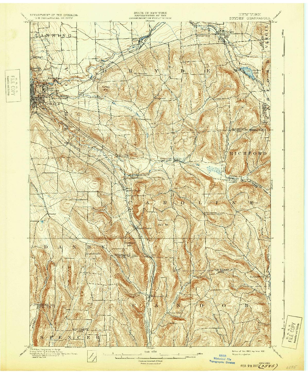 USGS 1:62500-SCALE QUADRANGLE FOR DRYDEN, NY 1900