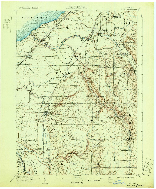 USGS 1:62500-SCALE QUADRANGLE FOR EDEN, NY 1907