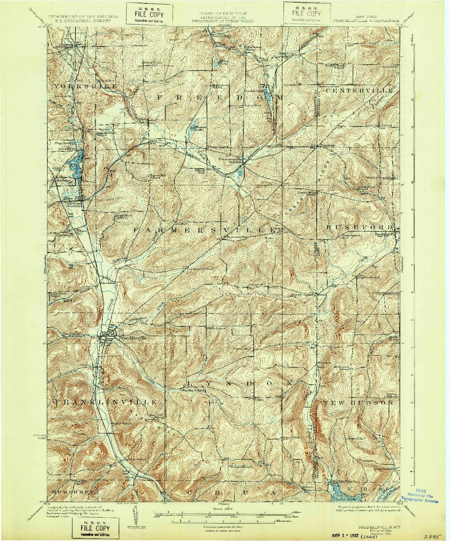 USGS 1:62500-SCALE QUADRANGLE FOR FRANKLINVILLE, NY 1924