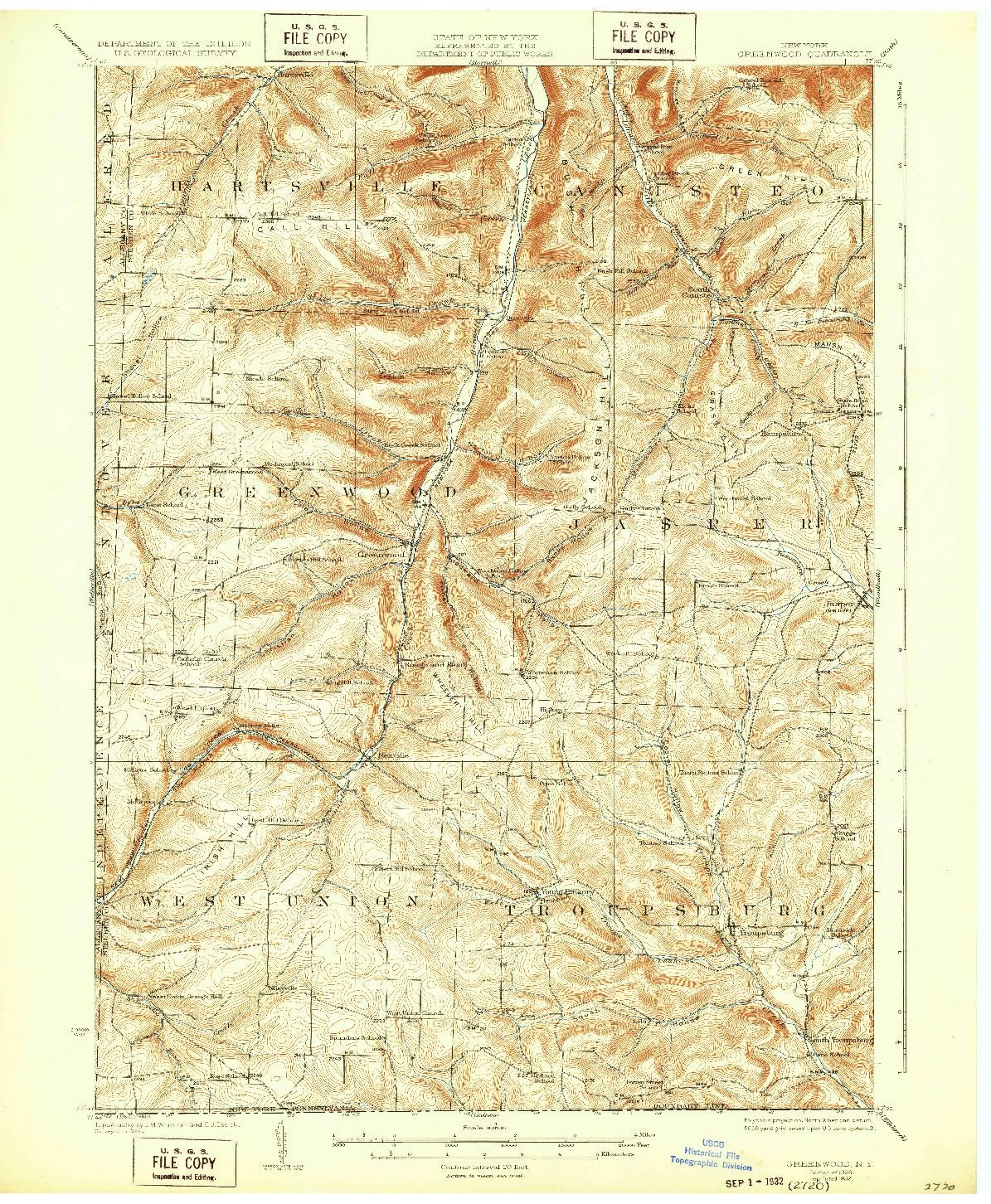 USGS 1:62500-SCALE QUADRANGLE FOR GREENWOOD, NY 1926