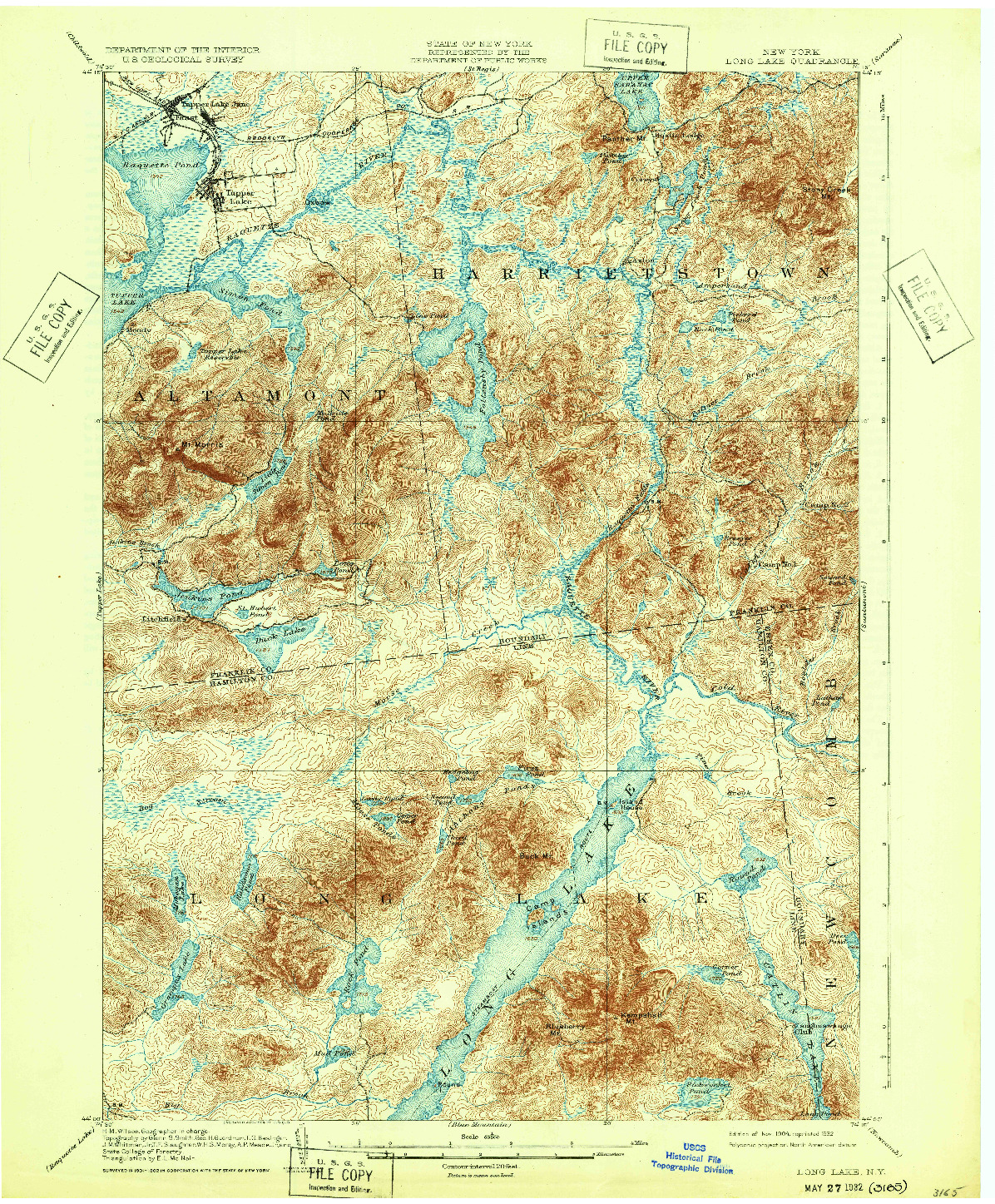 USGS 1:62500-SCALE QUADRANGLE FOR LONG LAKE, NY 1904