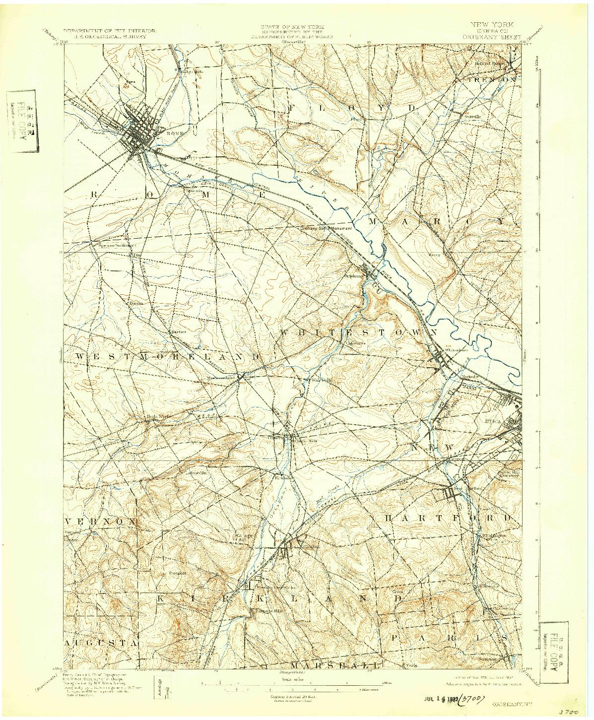 USGS 1:62500-SCALE QUADRANGLE FOR ORISKANY, NY 1898