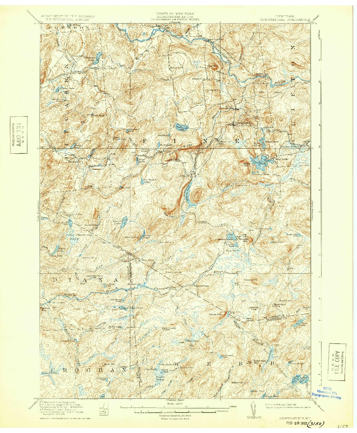 USGS 1:62500-SCALE QUADRANGLE FOR OSWEGATCHIE, NY 1918