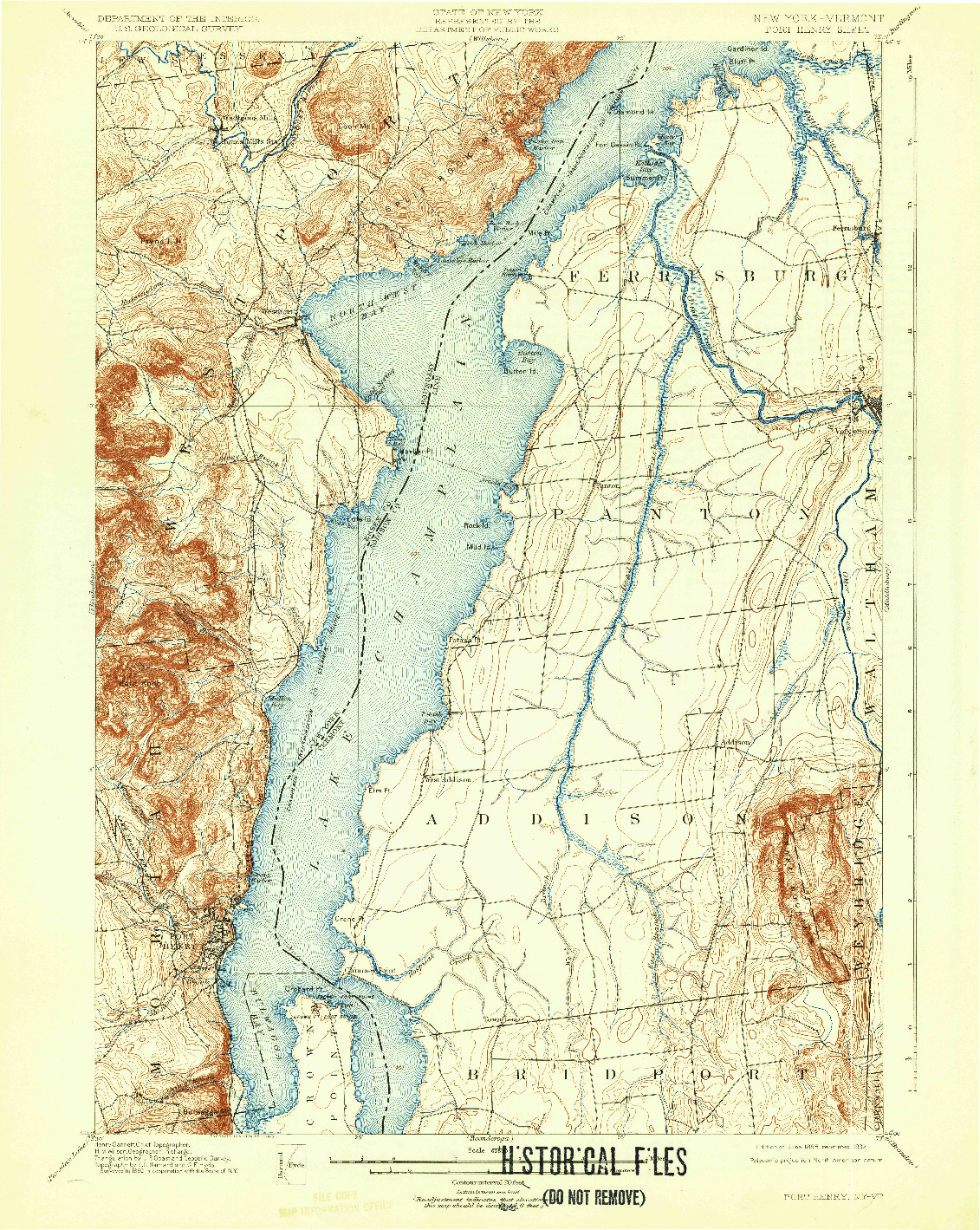 USGS 1:62500-SCALE QUADRANGLE FOR PORT HENRY, NY 1898