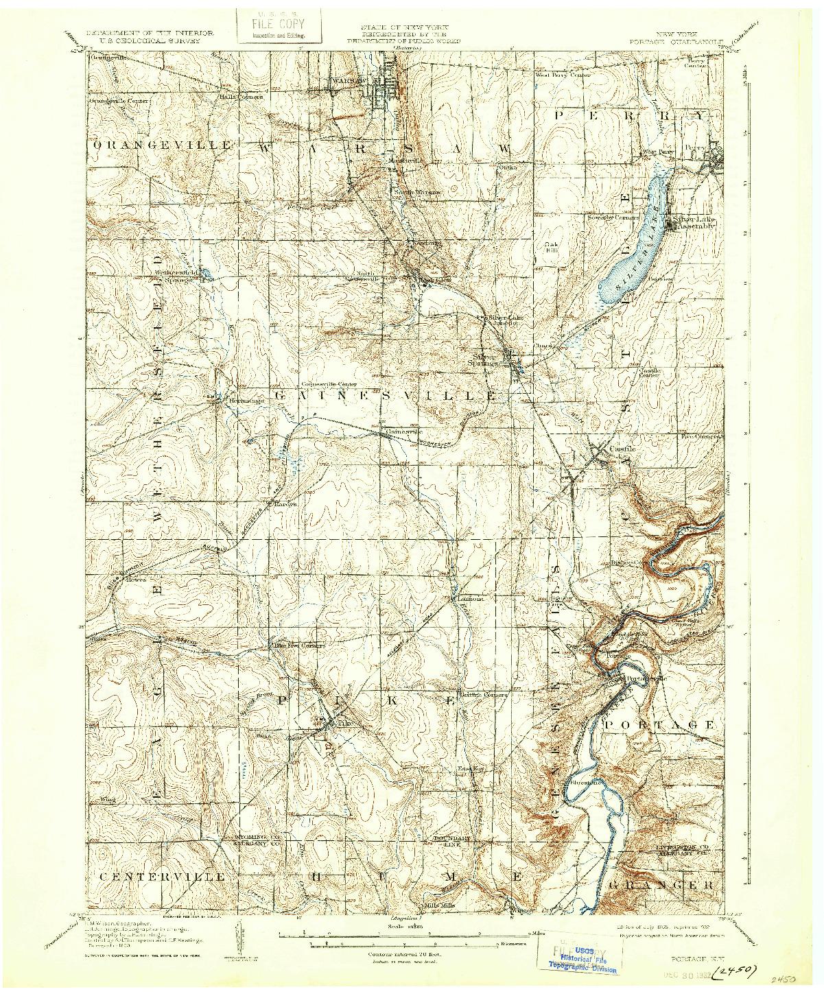USGS 1:62500-SCALE QUADRANGLE FOR PORTAGE, NY 1905