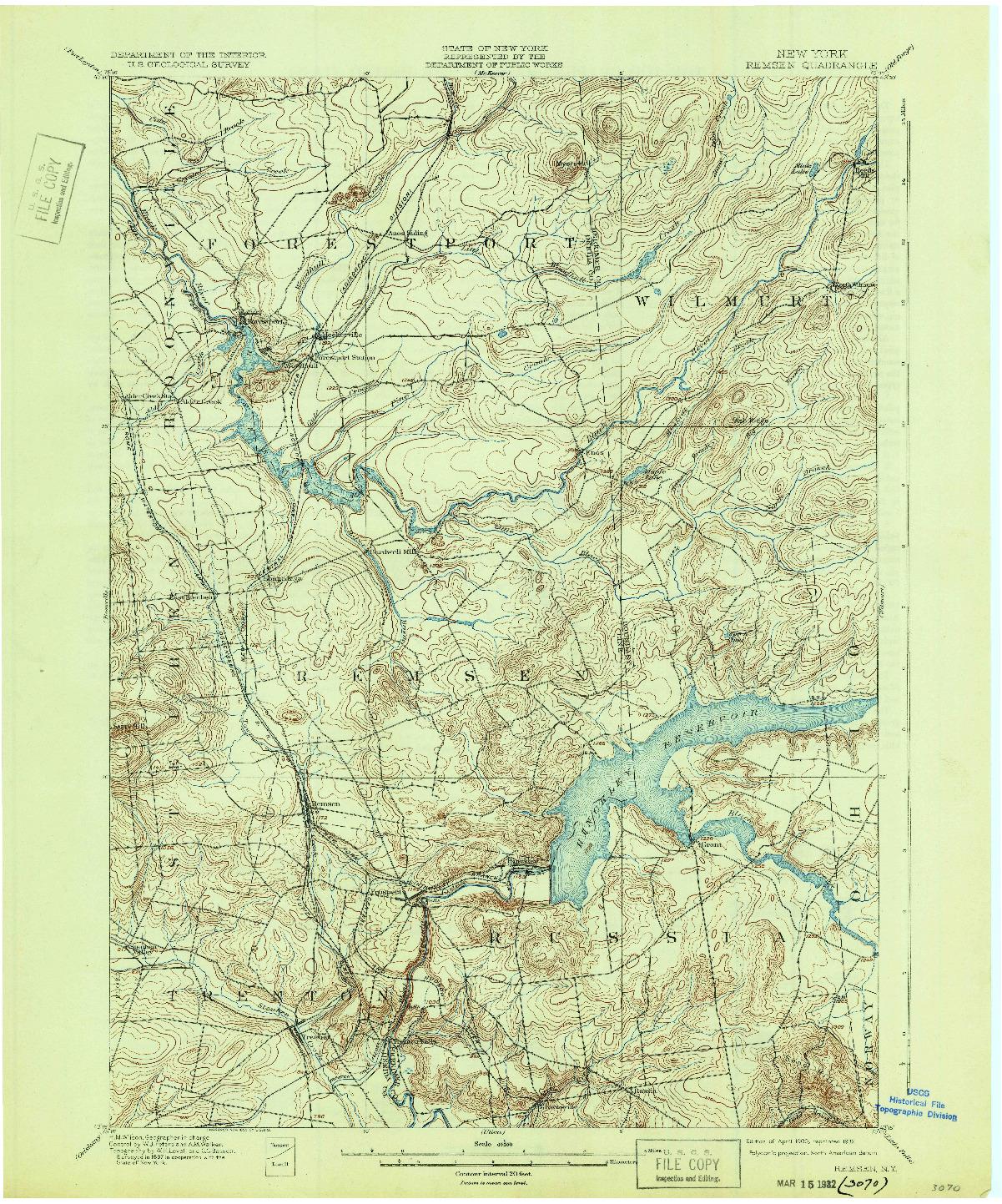 USGS 1:62500-SCALE QUADRANGLE FOR REMSEN, NY 1900