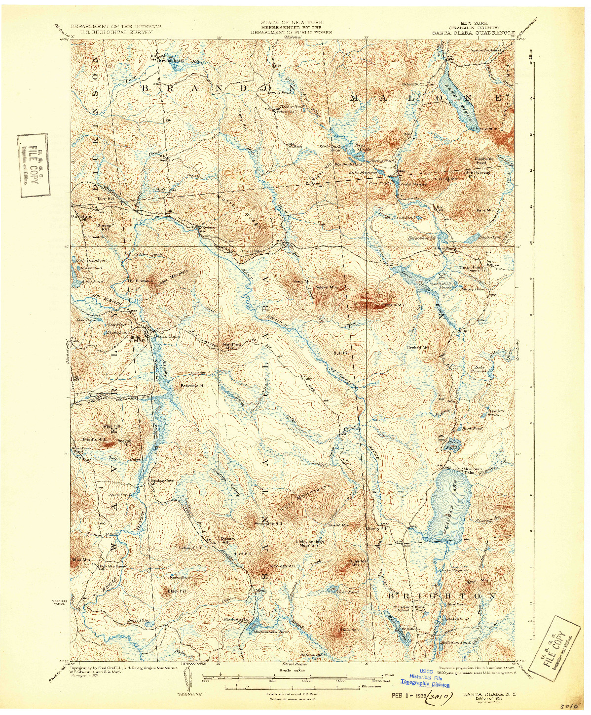 USGS 1:62500-SCALE QUADRANGLE FOR SANTA CLARA, NY 1923