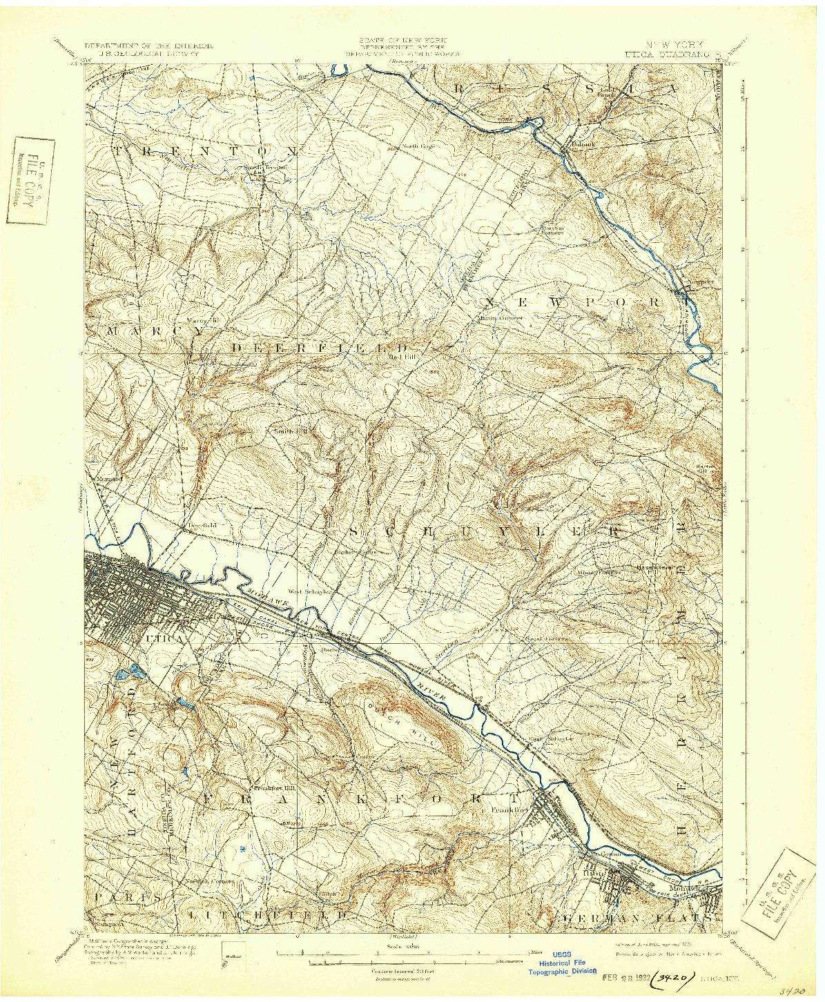 USGS 1:62500-SCALE QUADRANGLE FOR UTICA, NY 1900