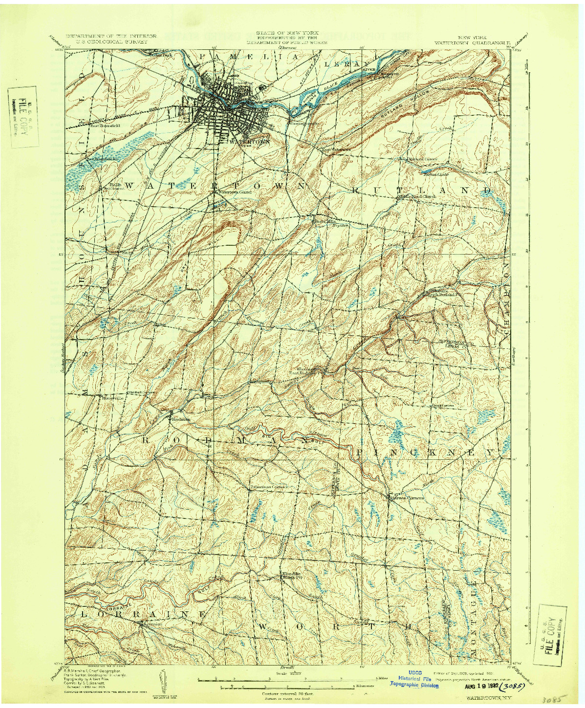USGS 1:62500-SCALE QUADRANGLE FOR WATERTOWN, NY 1909
